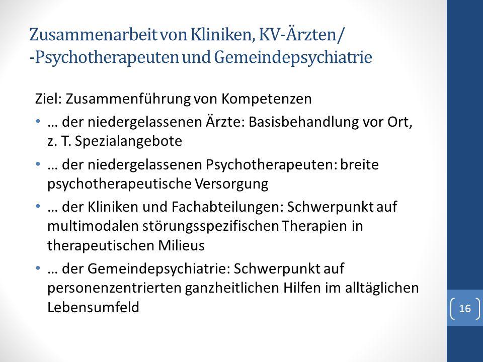 Zusammenarbeit von Kliniken, KV-Ärzten/ -Psychotherapeuten und Gemeindepsychiatrie