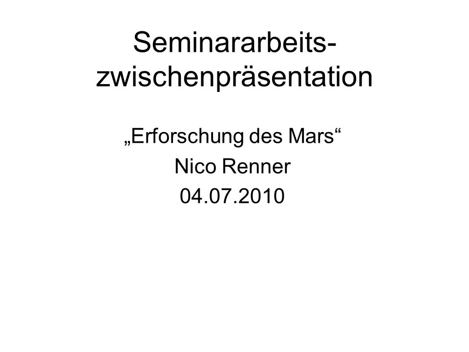 Seminararbeits-zwischenpräsentation