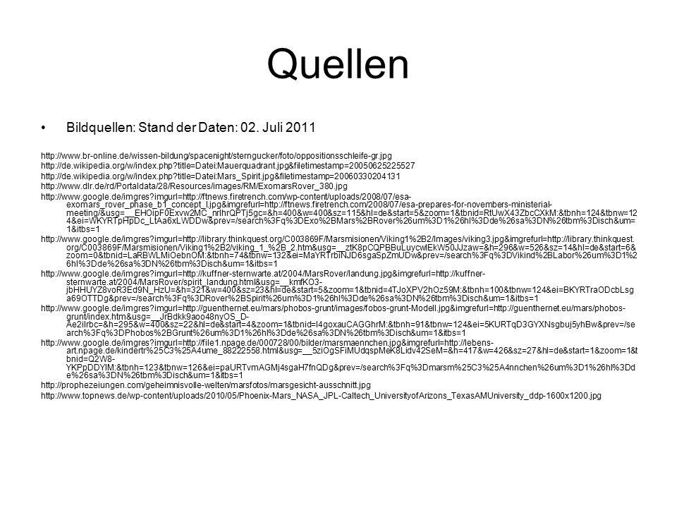 Quellen Bildquellen: Stand der Daten: 02. Juli 2011