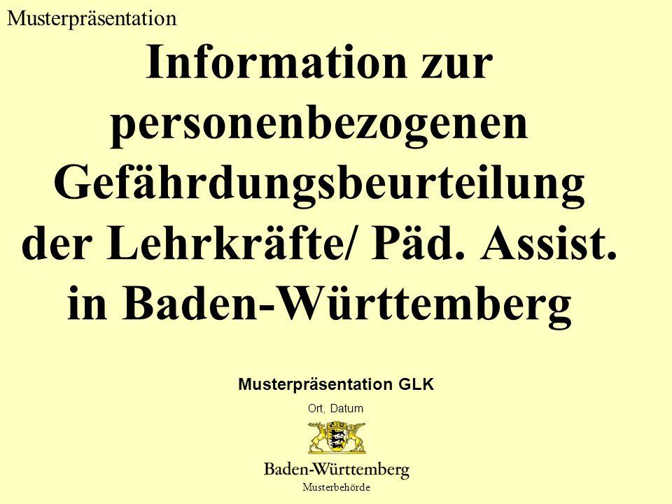 Titel des Vortrags Musterpräsentation GLK Ort, Datum