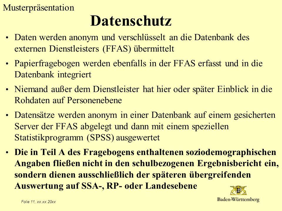 Datenschutz Titel des Vortrags. Daten werden anonym und verschlüsselt an die Datenbank des externen Dienstleisters (FFAS) übermittelt.