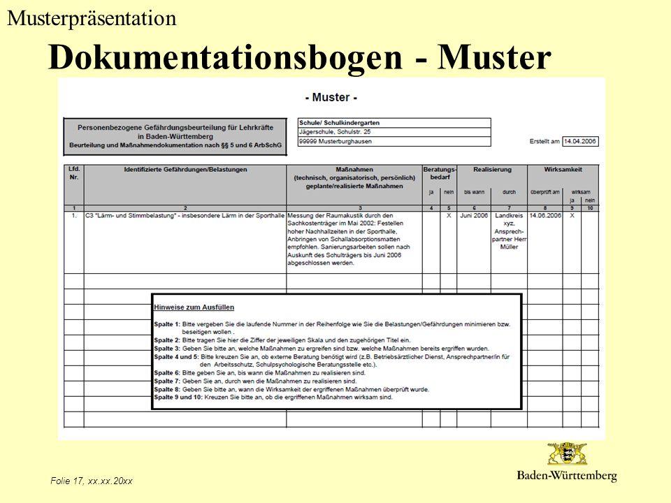 Dokumentationsbogen - Muster