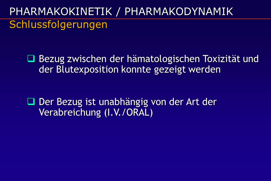 PHARMAKOKINETIK / PHARMAKODYNAMIK Schlussfolgerungen