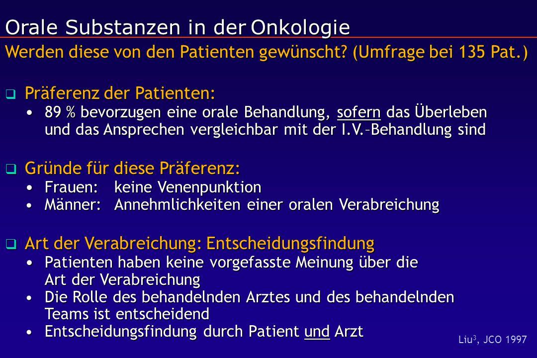 Orale Substanzen in der Onkologie