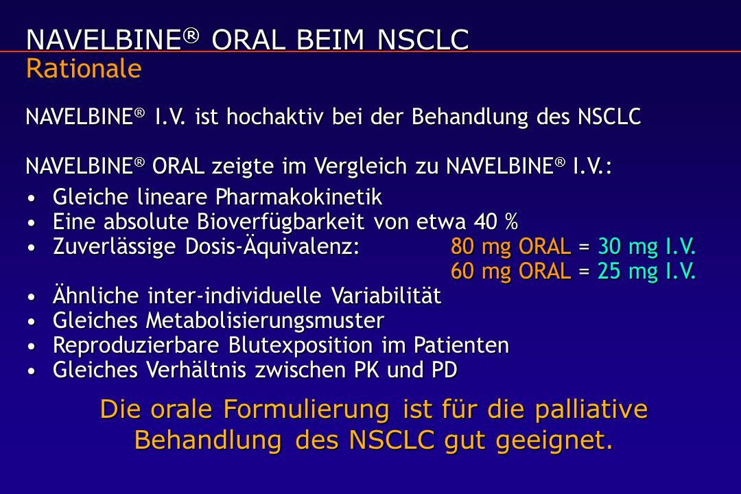 NAVELBINE® ORAL BEIM NSCLC Rationale
