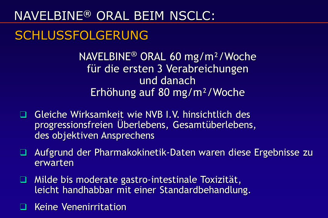 NAVELBINE® ORAL BEIM NSCLC: