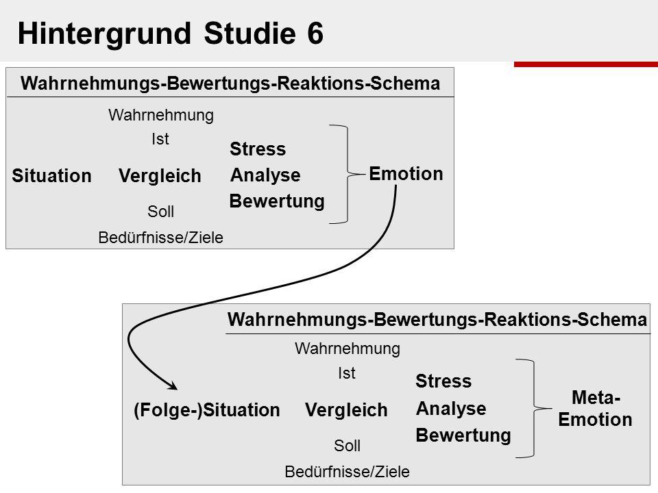 Hintergrund Studie 6 Wahrnehmungs-Bewertungs-Reaktions-Schema Stress