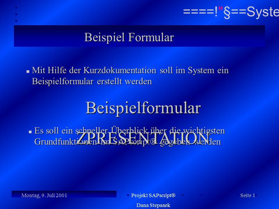 Beispielformular ZPRESENTATION Beispiel Formular