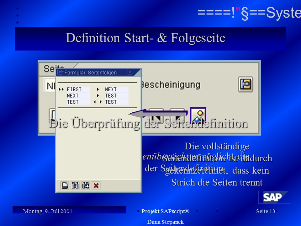 Definition Start- & Folgeseite