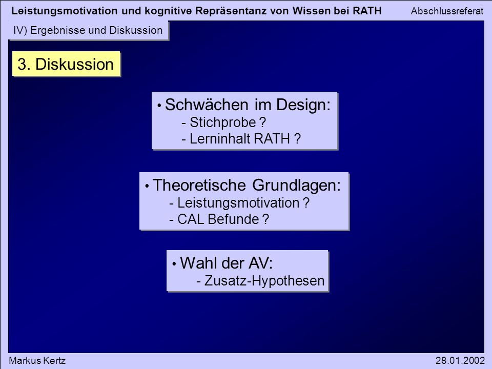 3. Diskussion Schwächen im Design: Stichprobe Lerninhalt RATH