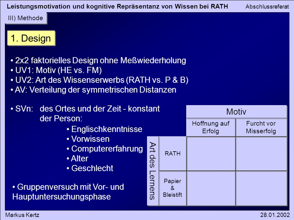 1. Design 2x2 faktorielles Design ohne Meßwiederholung