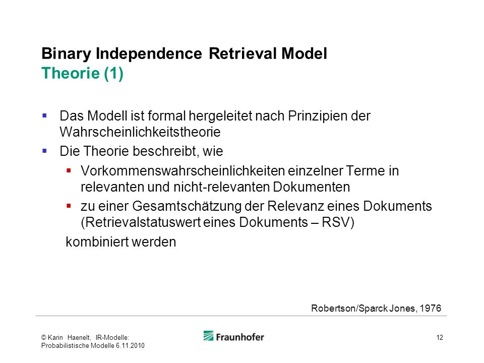 Binary Independence Retrieval Model Theorie (1)