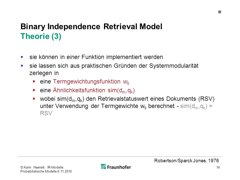 Binary Independence Retrieval Model Theorie (3)