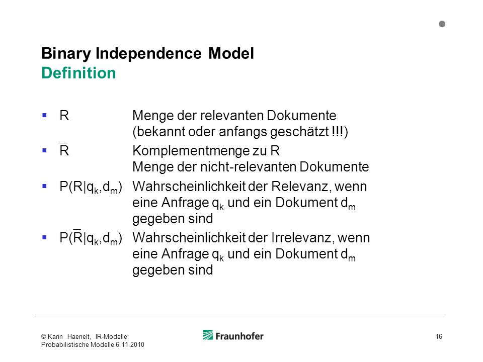 Binary Independence Model Definition