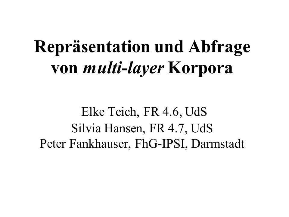 Repräsentation und Abfrage von multi-layer Korpora Elke Teich, FR 4