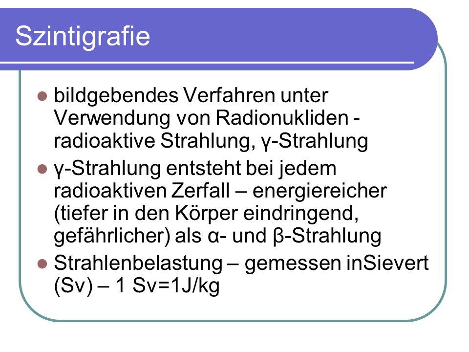 Szintigrafie bildgebendes Verfahren unter Verwendung von Radionukliden - radioaktive Strahlung, γ-Strahlung.
