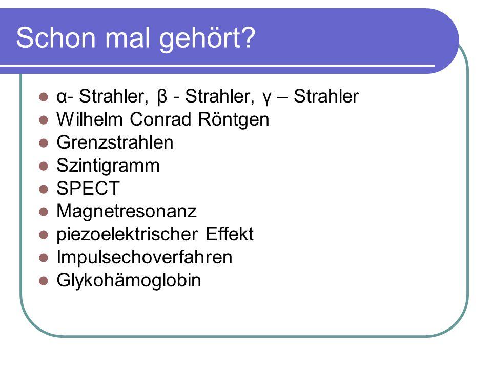 Schon mal gehört α- Strahler, β - Strahler, γ – Strahler