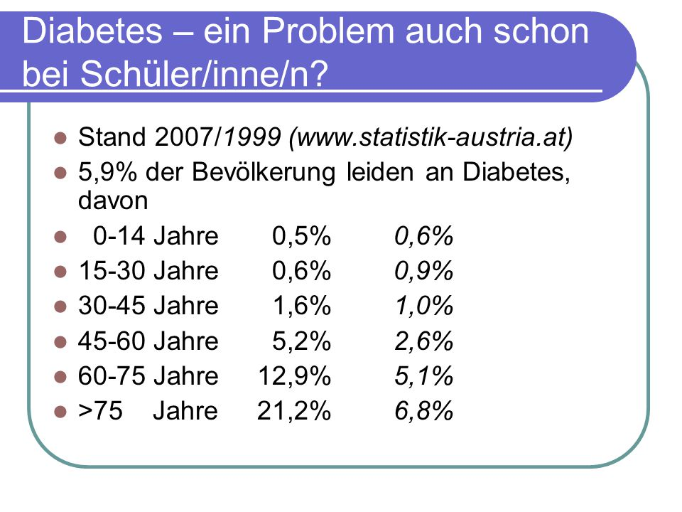Diabetes – ein Problem auch schon bei Schüler/inne/n