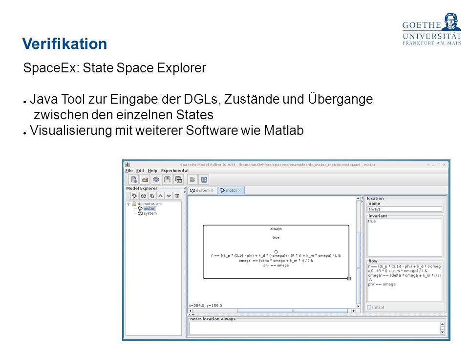 Verifikation SpaceEx: State Space Explorer