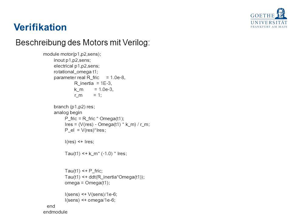 Verifikation Beschreibung des Motors mit Verilog: