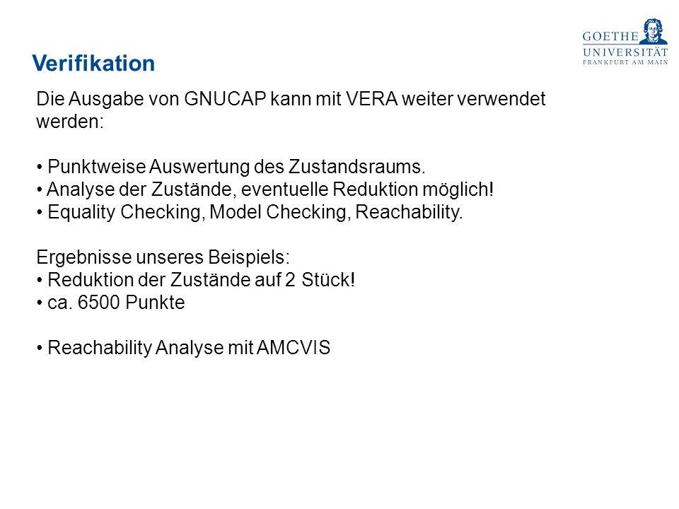 Verifikation Die Ausgabe von GNUCAP kann mit VERA weiter verwendet werden: Punktweise Auswertung des Zustandsraums.