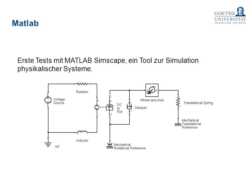 Matlab Erste Tests mit MATLAB Simscape, ein Tool zur Simulation physikalischer Systeme.