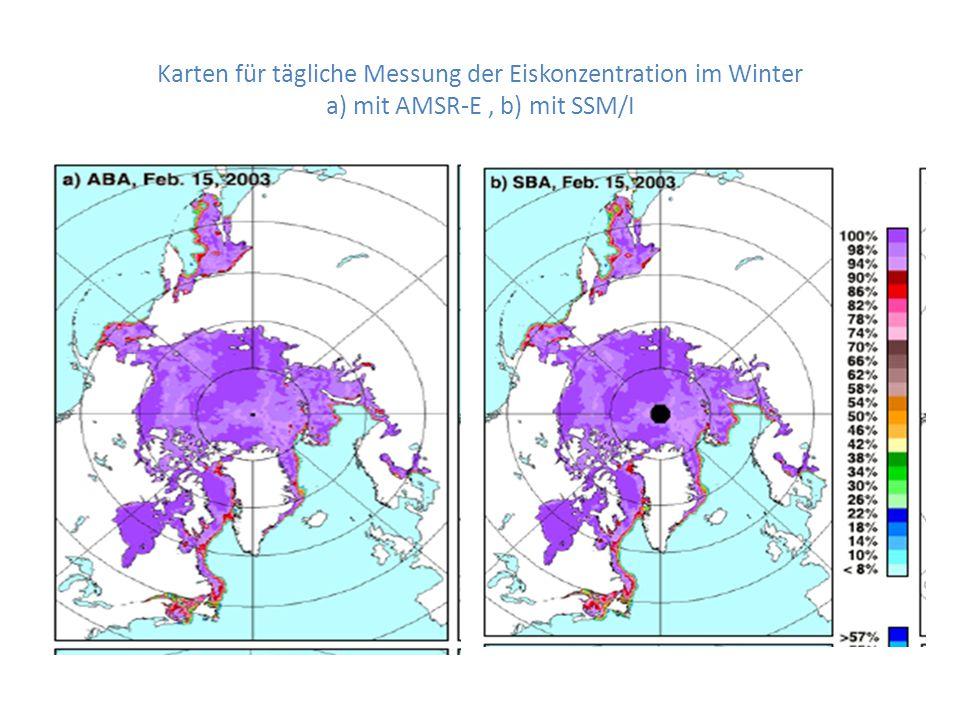 Karten für tägliche Messung der Eiskonzentration im Winter a) mit AMSR-E , b) mit SSM/I