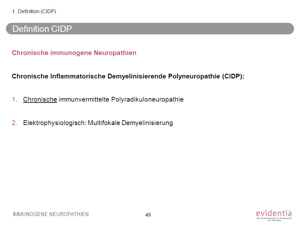 Definition CIDP Chronische immunogene Neuropathien