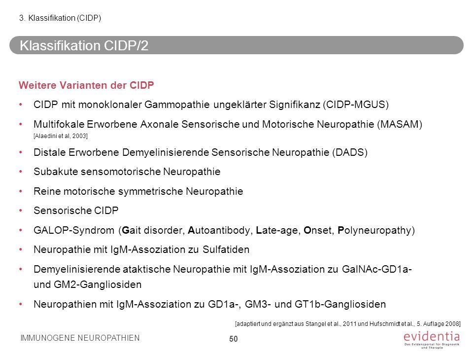 Klassifikation CIDP/2 Weitere Varianten der CIDP