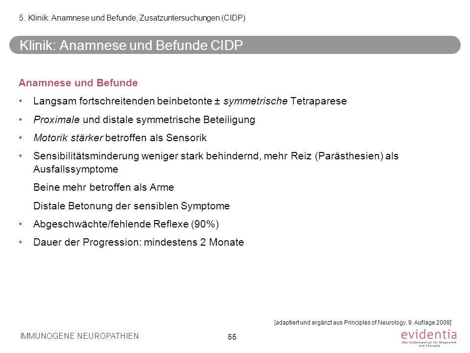 Klinik: Anamnese und Befunde CIDP