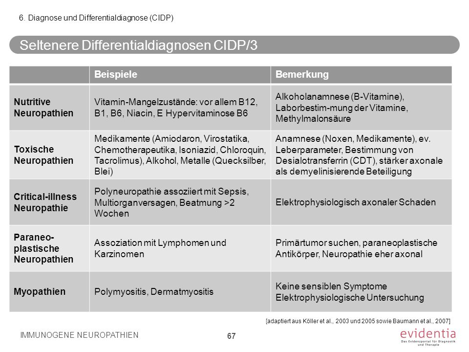 Seltenere Differentialdiagnosen CIDP/3