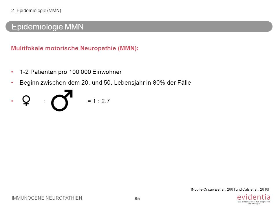 Epidemiologie MMN Multifokale motorische Neuropathie (MMN):