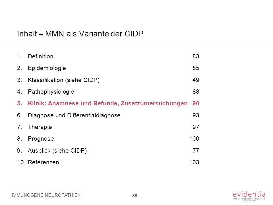 Inhalt – MMN als Variante der CIDP