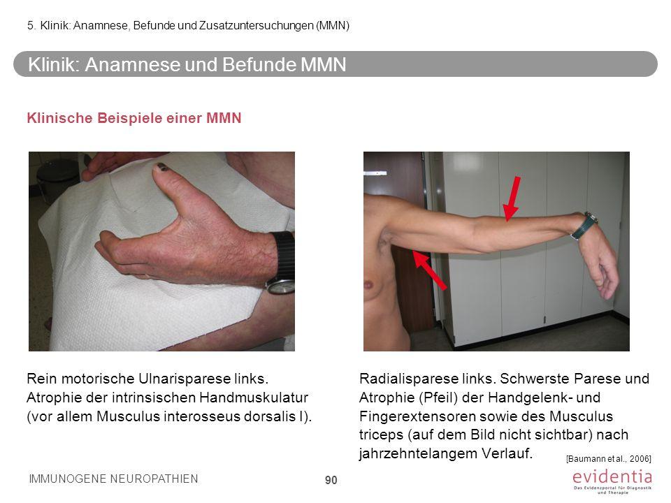 Klinik: Anamnese und Befunde MMN
