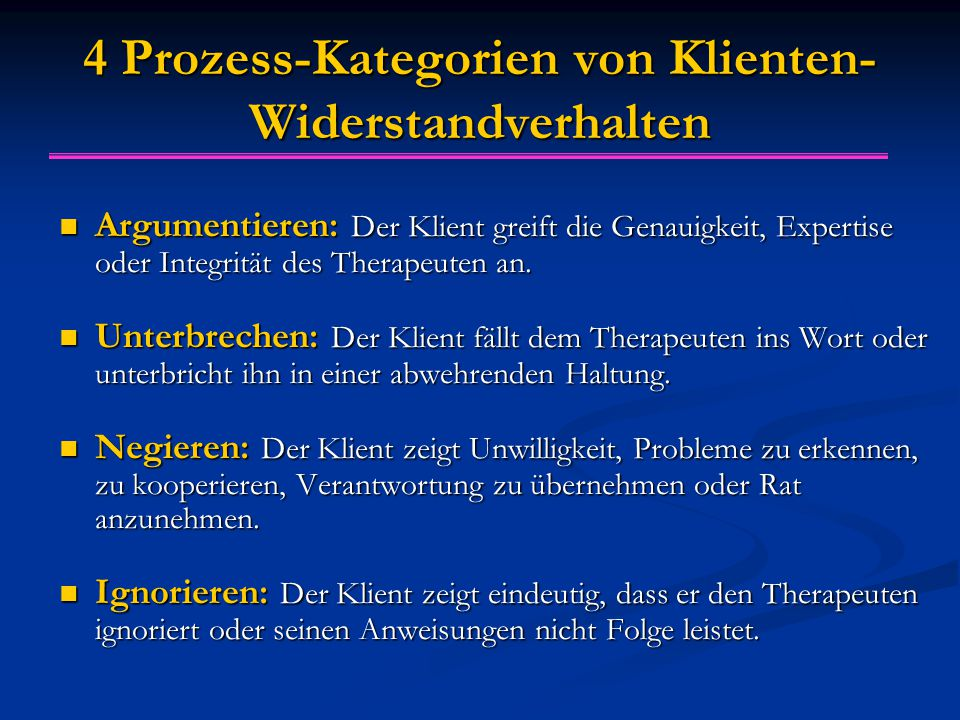 4 Prozess-Kategorien von Klienten-Widerstandverhalten