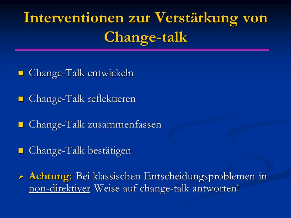 Interventionen zur Verstärkung von Change-talk