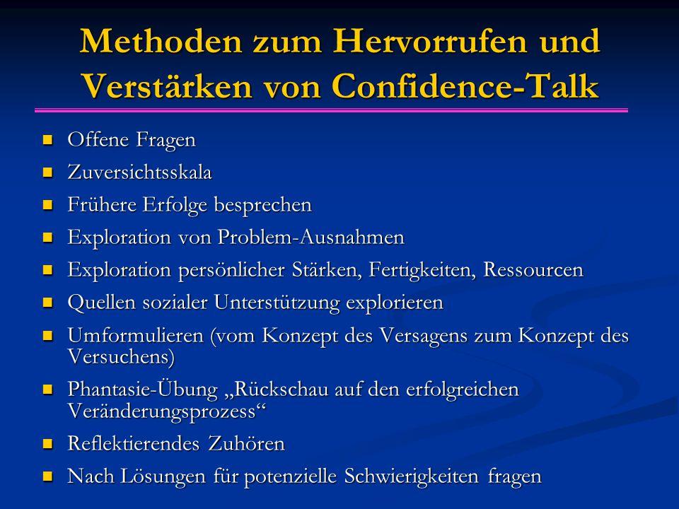 Methoden zum Hervorrufen und Verstärken von Confidence-Talk