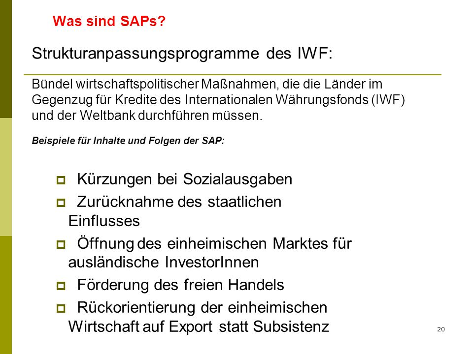 Strukturanpassungsprogramme des IWF: