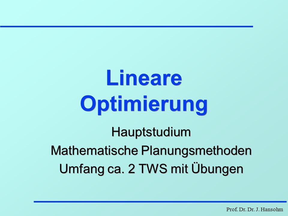 Lineare Optimierung Hauptstudium Mathematische Planungsmethoden