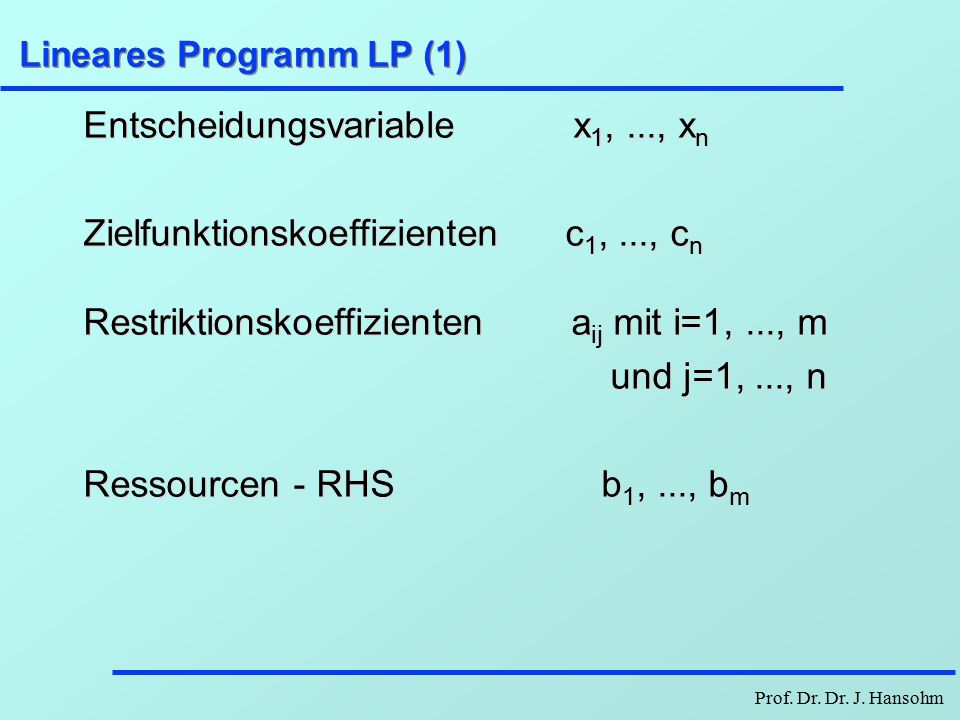 Lineare Optimierung Hauptstudium Mathematische ...