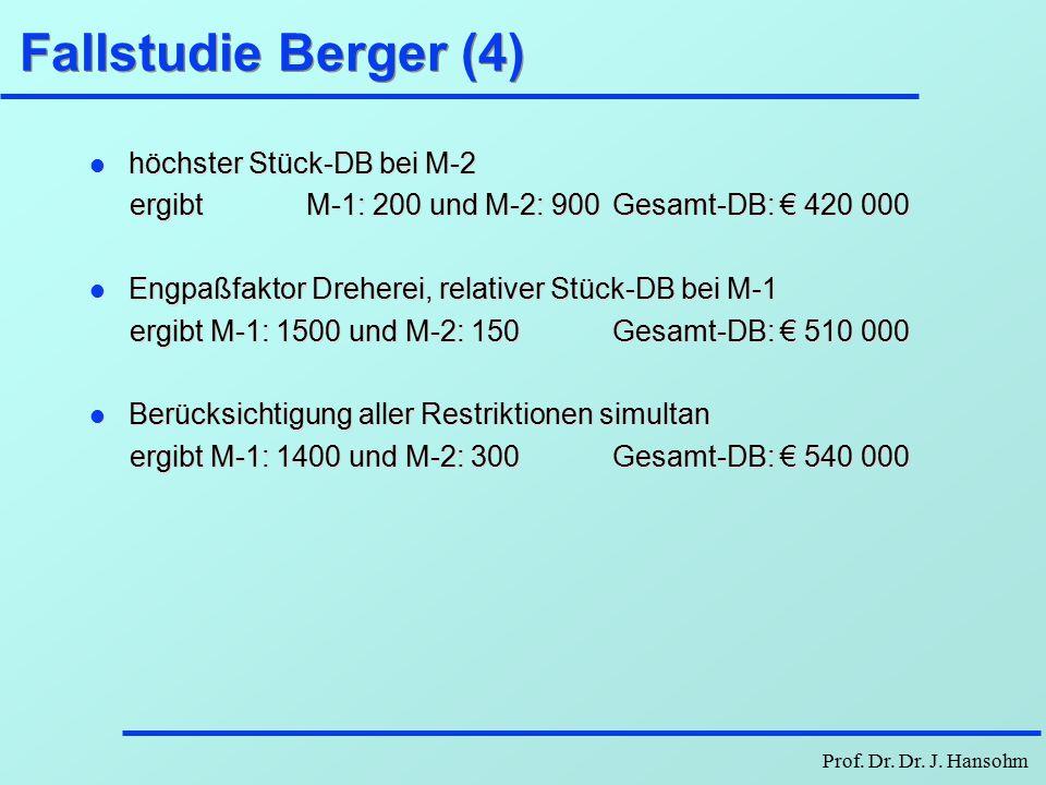 Fallstudie Berger (4) höchster Stück-DB bei M-2