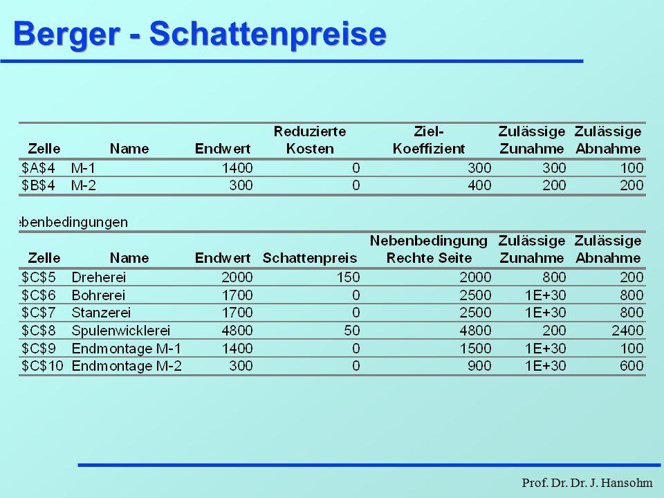Berger - Schattenpreise