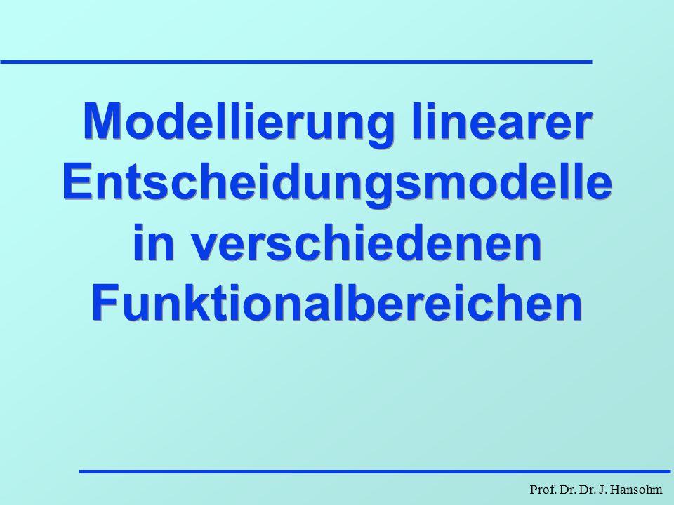 Modellierung linearer Entscheidungsmodelle in verschiedenen Funktionalbereichen