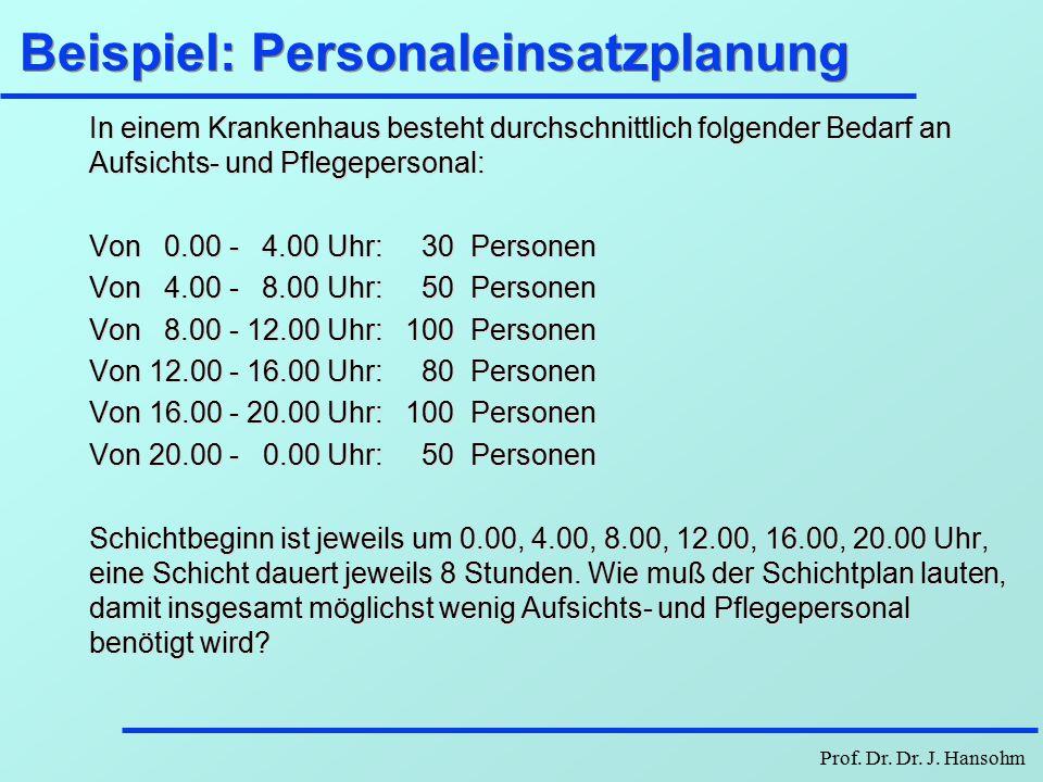 Beispiel: Personaleinsatzplanung
