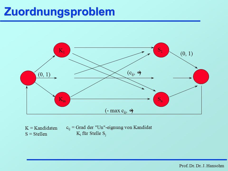 Zuordnungsproblem K1 Km S1 Sn (0, 1) (- max cij, ¥) (cij, ¥)