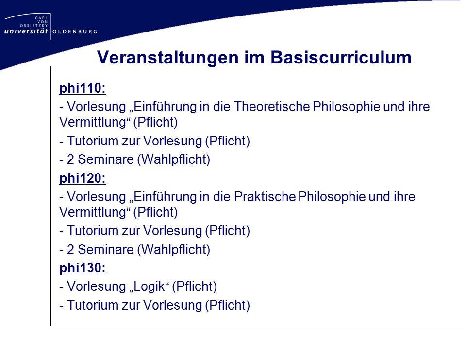 Veranstaltungen im Basiscurriculum