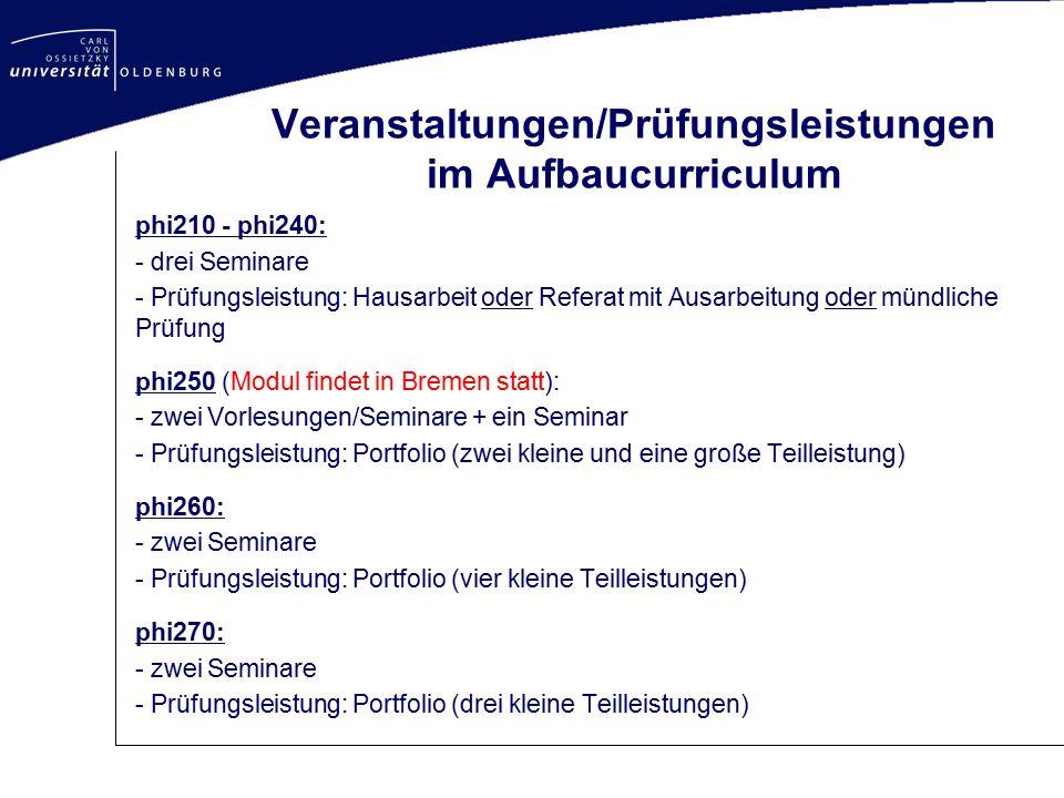 Veranstaltungen/Prüfungsleistungen im Aufbaucurriculum
