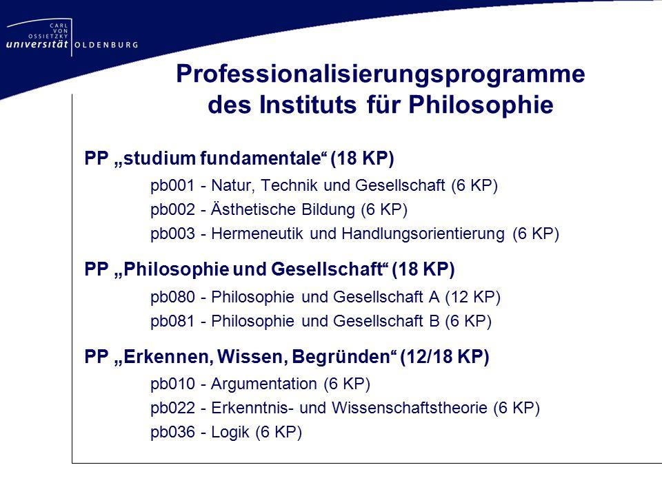 Professionalisierungsprogramme des Instituts für Philosophie