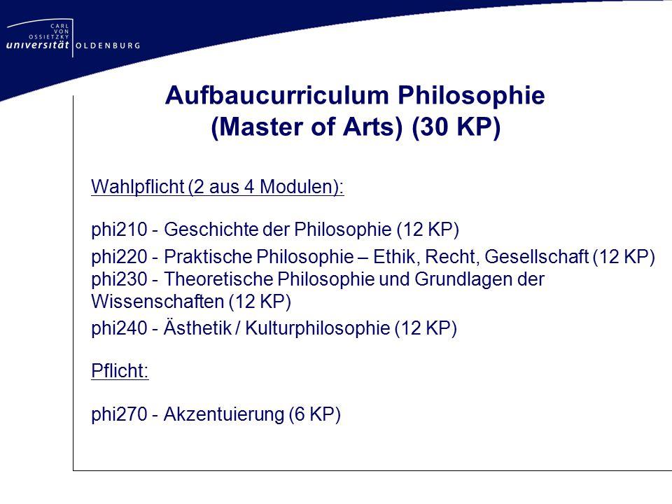 Aufbaucurriculum Philosophie (Master of Arts) (30 KP)