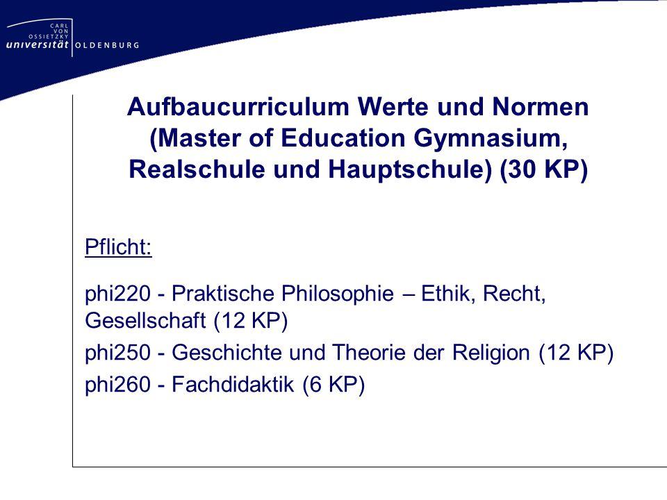 Aufbaucurriculum Werte und Normen (Master of Education Gymnasium, Realschule und Hauptschule) (30 KP)